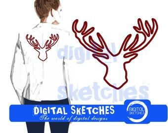 Deer Applique Machine Embroidery Design 5 Sizes