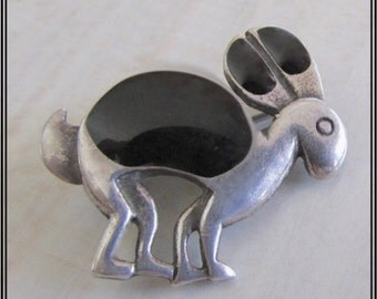Whimsical Adorable Vintage Sterling Silver and Black Enamel Rabbit Pin