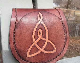 Celtic Mother Child Knot Symbolism Leather Wallet Mini Minimalist Design Unique JoeApproved Present Gift