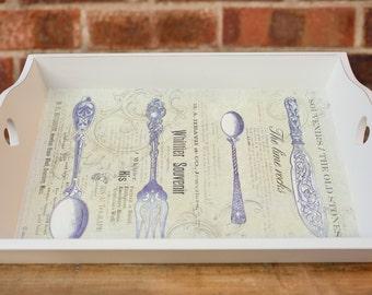 Serving tray, Wood tray, Handmade tray, Kitchen tray, Rustic tray, Coffee table tray, Decoupaged tray, Shabby chic tray