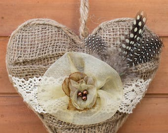 Handmade burlap heart, Hanging heart decoration, Wall Handmade heart, Romantic heart, Handmade hanging decoration