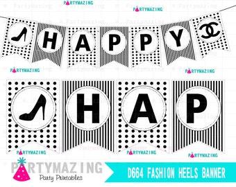 Fashion Printable Banner, Fashion Heels Birthday Banner, Black and White, Printable Bunting Flag D664