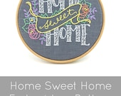 Home Sweet Home - DIY hoop art pattern, modern embroidery pattern by I Heart Stitch Art, perfect housewarming gift, DIY hand embroidery art