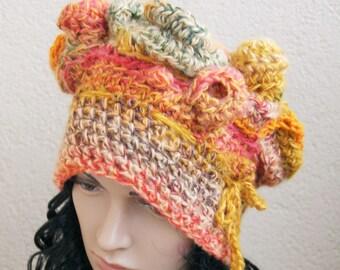 Silk,alpaca,merino wool,mohair,acrylikAsymmetric absolutely crazy hat, crazy freeform crochet beret,  gift for Christmas