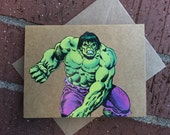 Vintage Marvel Avengers Incredible HULK Comic Book Greeting Card (Blank)