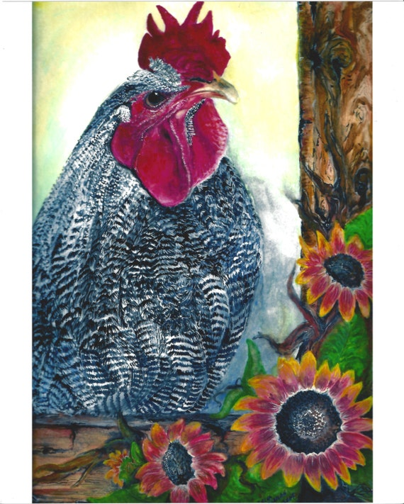 Rooster fine art print farmhouse chic kitchen wall art rustic country rooster chicken prints sunflowers prints red black brown yellow orange
