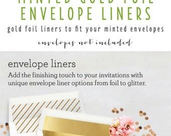 minted gold foil envelope liners (envelopes not included) - set of 10