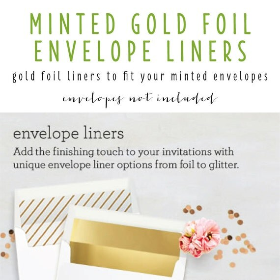 minted gold foil envelope liners (envelopes not included) - set of 10