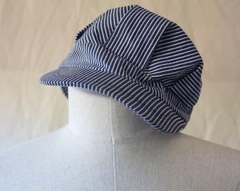 Vintage 70s 80s Railroad Train Conductor Hat // Striped Snapback