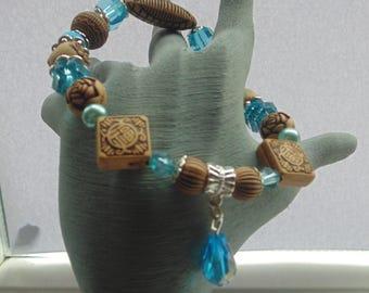 Elastic Wooden Bead & Blue Charm Bracelet