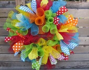 "25"" Birthday Deco Mesh Wreath Birthday Wreath Gender Neutral Birthday Wreath Colorful Wreath Red Green Blue Green Spiral Mesh Ribbon Wreath"