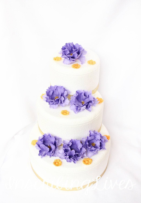 lavender gold wedding cake topper 18pcs flower cake topper wedding ...