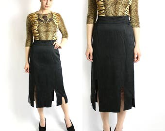Vintage 80's 90's  Black Silk High Waisted Midi Pencil Skirt - Medium
