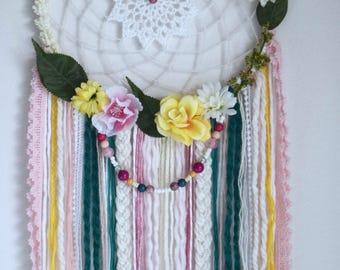 Floral dreamcatcher, pink green yellow blue and beige bohemian wall decor, boho wall hanging decoration, wedding boho dreamcatcher