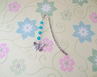 Silver Butterfly Bookmark/Bookhook with Blue and Clear Crystal Beads - Ready to Ship