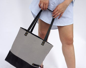 SALE 15% Grey Black Canvas Tote,Leather Tote Canvas Bag Grey Shoulder Bag,School Tote,Diaper Market Bag,Christmas Gift-Gift for her-Teacher