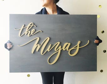 Custom Name Wooden Plank Laser Cut Sign - Large 2x3 feet - Family Name Sign - Last Name Sign - Wedding Sign - Wedding Gift
