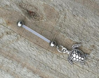Turtle Pregnancy Belly Button Ring, Bioflex 14 Gauge, Mother Maternity Jewelry, Navel Piercing.