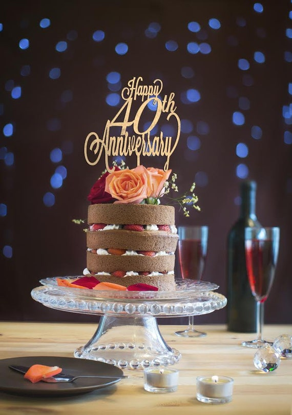 Happy 40th Anniversary, Anniversary Cake Topper, Happy Anniversary Cake, Gold Cake Topper, Glitter Cake Topper, DIY Cake Topper, Rustic Cake