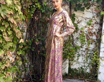 Vintage 60's Metallic Brocade, Paisley Maxi Evening Dress