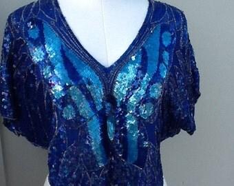 Sequin Queens Silk Butterfly Blue & Turquoise Sequin Top - Dressy Beaded Flutter Sleeve Crop Top