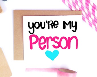 Youre My Person, Cute Boyfriend Card, Cute Husband Card, Fiance Card, Valentine's Day Card, Vday Card for Her, Vday cards, Best Friend Card