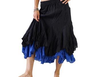 2 LAYER SKIRT Black/Blue - Renaissance Festival, Pirate Costume, Steampunk, Belly Dance, Wench, Asymmetrical, Peasant, Light Weight