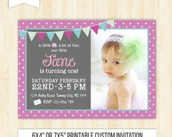 Purple Invitations Etsy - 1st birthday invitations girl purple