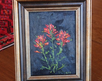 Indian Paintbrush oil painting, Miniature, Wildflower of Wyoming