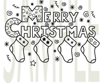 Merry Christmas silhouette vector files, digital download svg, dxf, eps, png, ai.