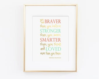You Are Braver Than You Believe Nursery Art Print, Winnie the Pooh Quote, Mint Nursery, Coral Nursery, Faux Gold Foil, Kids Wall Art
