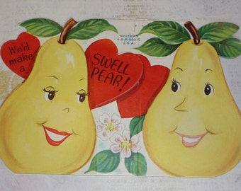 "We'd Make a Swell ""PEAR""!  Two Yellow Pears Vintage Anthropomorphic Valentine Card"