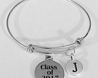 Gift For Her, Adjustable Bangle Bracelet, Class Of 2017 Initial Bracelet, Graduation Gift Bangle Charm Bangle Bracelet