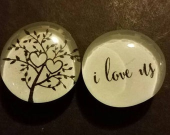 Set of 2 Strong Glass Magnets,  Relationship, love, I love us, Wedding, family, Couple, heart Dating, Refrigerator Magnets, Kitchen decor