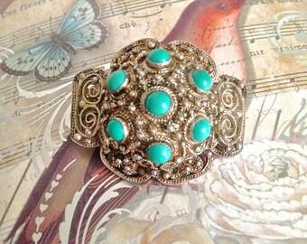 Vintage Brooch Vintage Jewellery Brooch Pin Silver brooch Silver Edwardian jewelry Turquoise Jewelry Bohemian jewelry Downton Abbey Jewelry