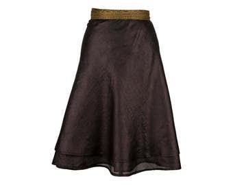 Black silk skirt | Etsy