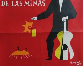 1964 Spanish Flamenco Poster (Festival de la Cante de las Minas) - Original Vintage Poster