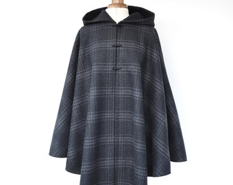 Tartan Wool Cape, Winter Cape Coat, Grey Hooded Cape, Tartan Wool Hooded Cloak, Wool Hooded Poncho, Scottish Tartan Cape Coat