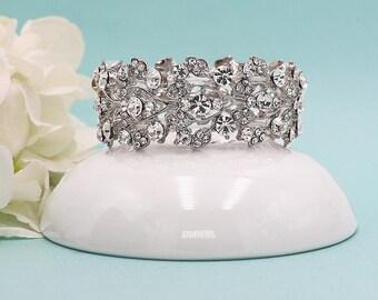Crystal Bridal Bracelet, rhinestone wedding bracelet, crystal bracelet, bridesmaid bracelet, crystal wedding bracelet 211129665