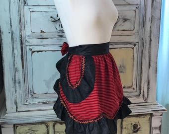 Vintage Half Apron Red And Black Ruffle Victorian Steampunk Style