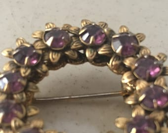 Amethyst Gold Tone Filigree Wreath Circle Brooch, Gold Tone Petals Set with Amethyst Colored Stones, Amethyst  Brooch, Amethyst Circle Pin