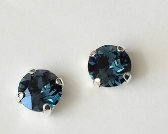 Dark Sapphire Stud Earrings Swarovski Crystal Post Earrings Bridesmaids Jewelry Gift Sapphire Crystal Earrings Swarovski Rhinestone Earrings