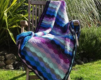 Multicolour Crochet Cotton Lap or Baby Blanket, Purple Blue Green Pink Throw, READY TO SHIP