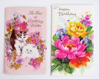 Vintage unused x 2 60s / 70s happy birthday cards from Sands - printed in Australia - cute cats and flowers