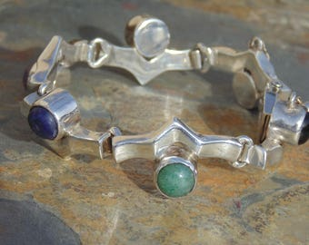 Two Trees ~ Vintage Mexican Sterling Silver and Stone Unique Link Bracelet - 51 Grams