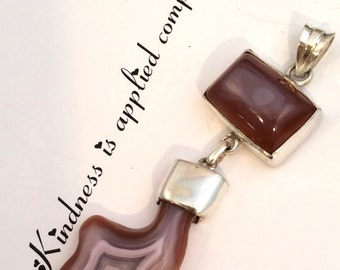 Large Taupe, Brown & Beige Fancy Agate Pendant. Hinged, Sterling Silver,  free US ship