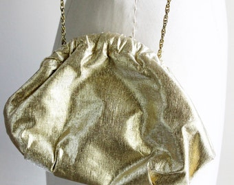 Vintage 1960s 1970s Gold Lame Purse / Evening Bag With Chain / Gold Handbag / Vintage Hand Bag / Evening Purse / Disco