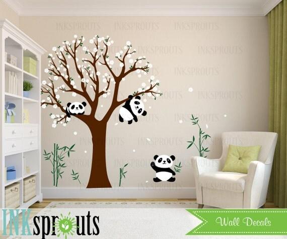 Chambre Bébé Panda : Sticker chambre panda fleur arbre dort