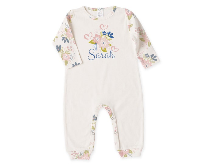 Personalized Newborn Girl Coming Home Outfit, Baby Girl Outfit, Newborn Girl Outfit, Baby Girl Floral Romper Tesababe RP81IYSB-T118-1
