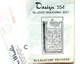 Vintage 70's Laura Wheeler Mail Order 50 State Quilt Pattern & Transfers #554 - UNCUT Refolded